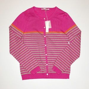 NWT Trina Turk Pink Stripe Button Front Cardigan